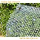 Bâches à oeillets en polyester enduit PVC - 400 gr - 5.8 x 9 m - transparente