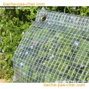 Bâches à oeillets en polyester enduit PVC - 400 gr - 3.8 x 9 m - transparente